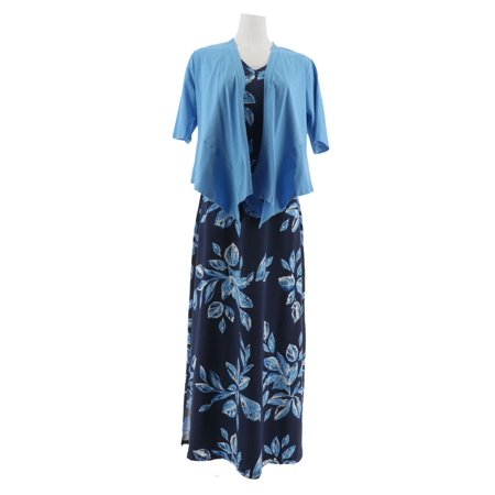 Denim & Co Printed V-Neck Slvless Maxi Dress Shrug A305335 - Dress And Shrug