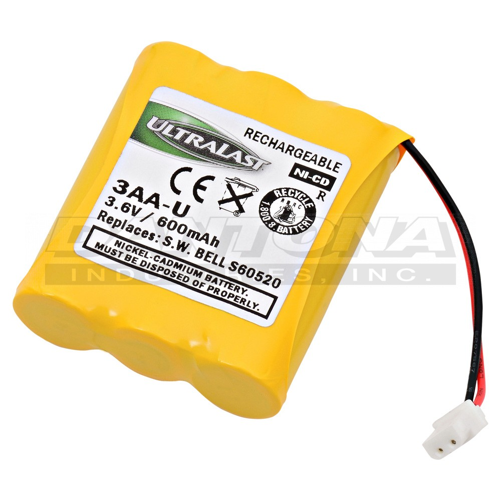 Ultralast Replacement Cordless Phone Battery 3.6 Volt Nickel Cadmium Replacement Cordless Phone Battery for GE/Sanyo GES PCF06
