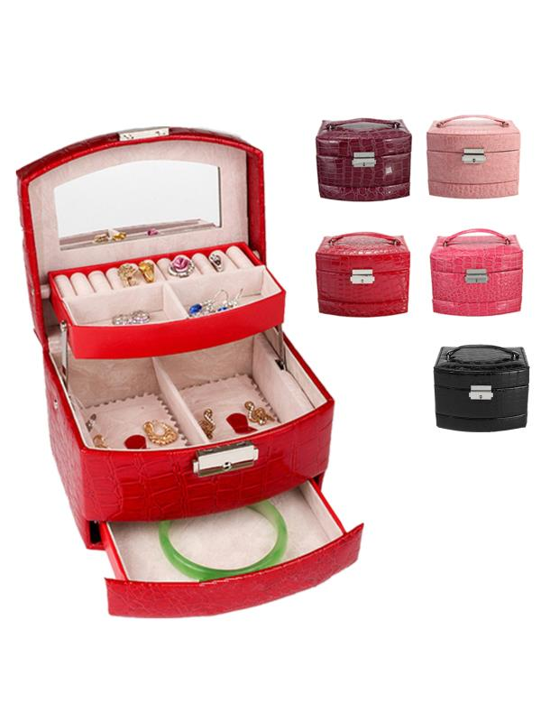 "Jewelry Box Girls Jewelry Ring Necklace Storage Boxes Display Organizer Mirrored Mini Travel Case Lockable 3 Layers Leather , 6.29""x5.11""x4.52"""