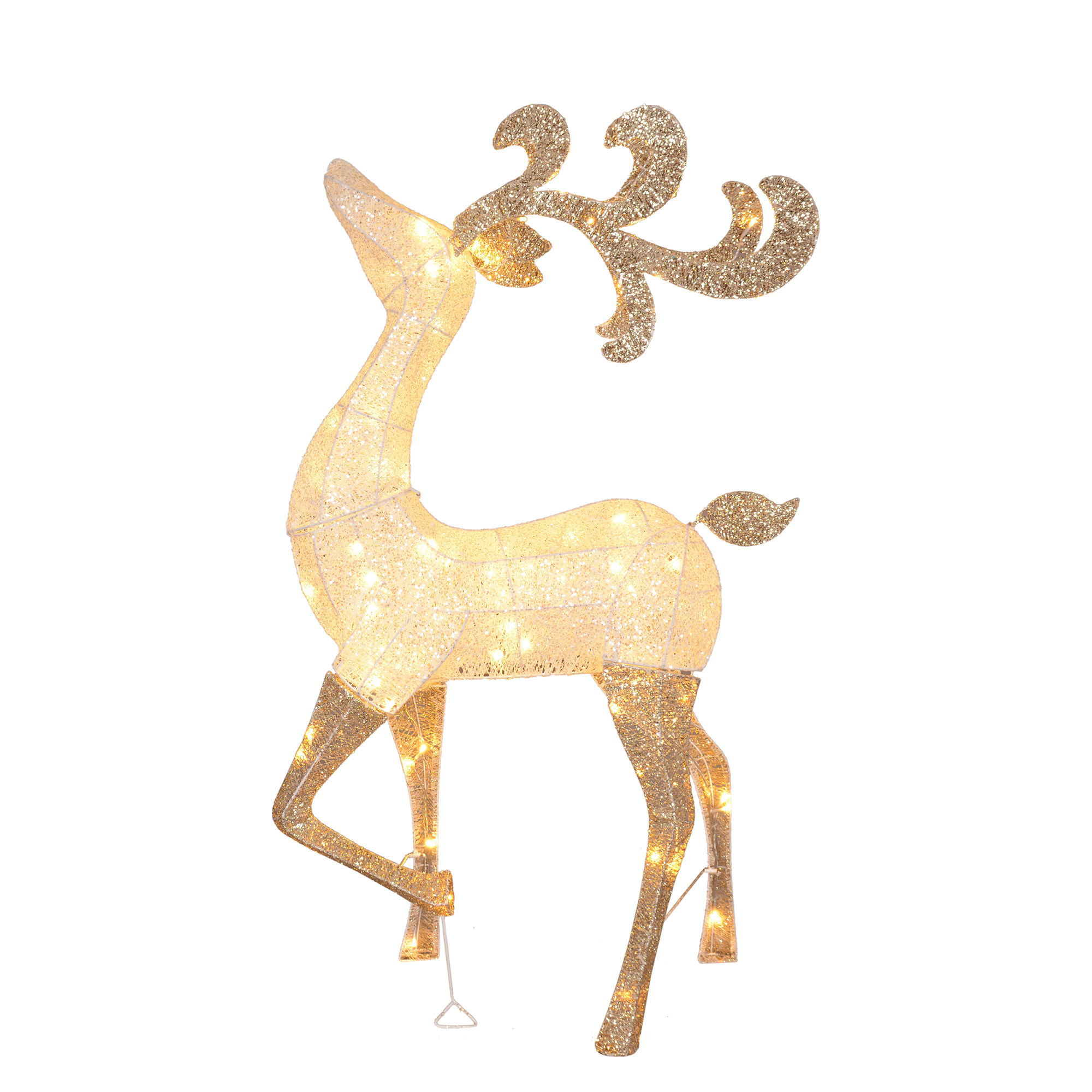 "52"" LED Lighted Silver and Gold Glitter Drenched Reindeer Christmas"
