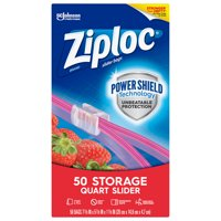 Ziploc Brand Slider Storage Quart Bags with Power Shield Technology, 50 Count