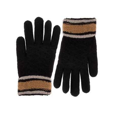 Classic Fashion Womens Gloves, Ladies Gloves, Winter Gloves For Cold Weather, Sherpa Lined Warm Gloves, Striped Patterned Acrylic Knit Gloves