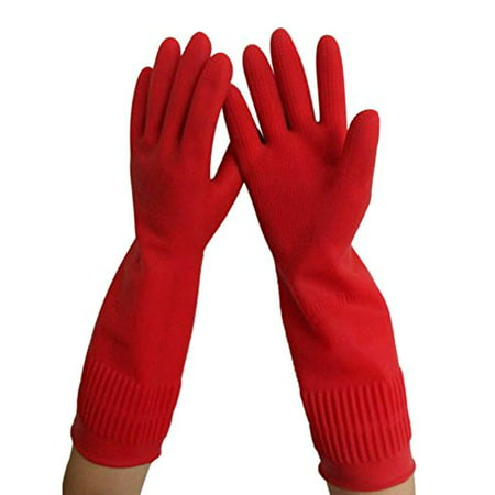 All For You 15-inch EXTRA THICK LONG Cuff Reusable Household Rubber Gloves/ Latex Gloves- Long Cuff (MEDIUM)