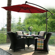 Costway 10' Hanging Offset Solar LED Patio Umbrella W/Base, Multiple Colors