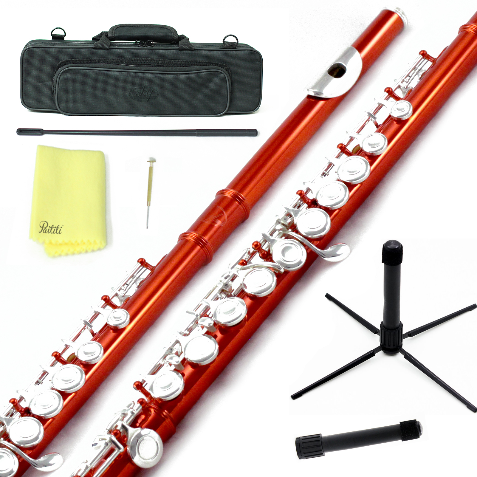 Sky Closed Hole C Flute with Lightweight Case, Cleaning Rod, Cloth, Joint Grease and Screw Driver - Wine Red Silver