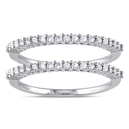 Sterling Silver 1/3ct TDW Diamond 2-Piece Stackable Semi-Eternity Ring Set