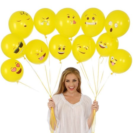 Cute Printed Big Eyes Face Smiley Face Latex Balloons for Party Birthday or Holiday Decoration Style 1 Pack of 10 Multi-color - image 2 of 7