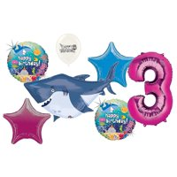 Pink 3rd Birthday Ocean Buddies Great White Shark Party Decorations Balloon Bouquet