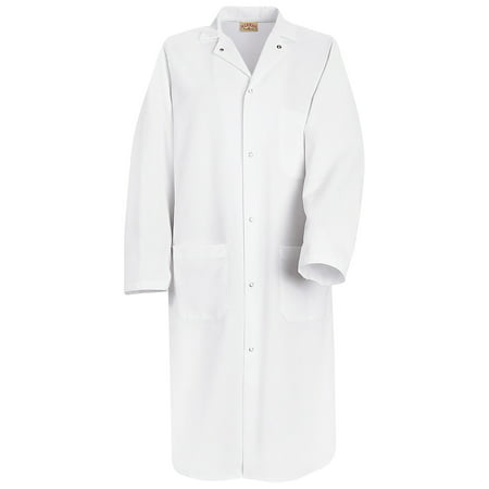 Men's Gripper-front Spun Polyester Butcher Coat with Interior Breast - Front Breast Pockets