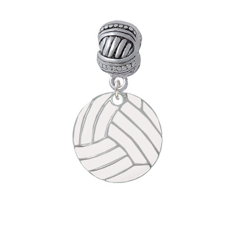 3/4'' Enamel Volleyball - Large Rope with Cross Beads Charm Bead