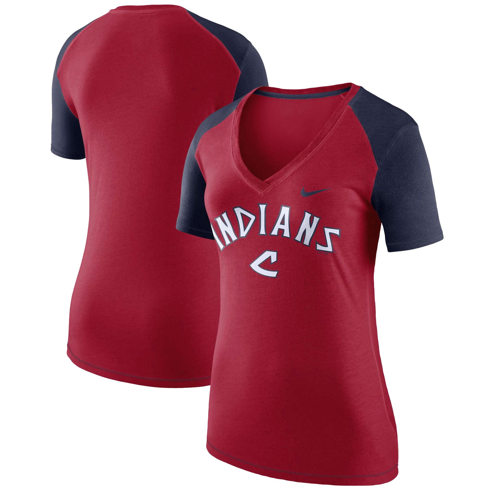 Cleveland Indians Nike Women's V Fan V-Neck T-Shirt - Red/Navy