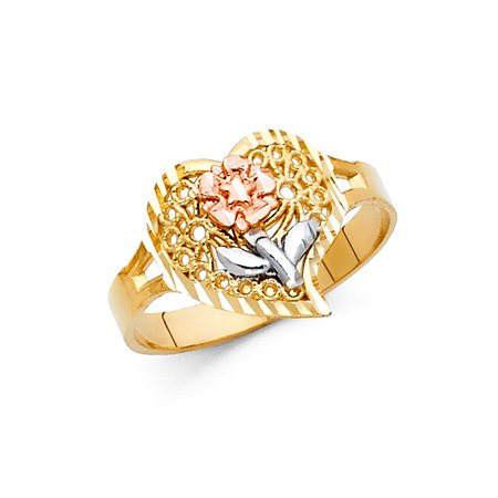 Jewels By Lux 14K Yellow White and Rose Three Color Gold Fashion Anniversary Flower Ring Size 5