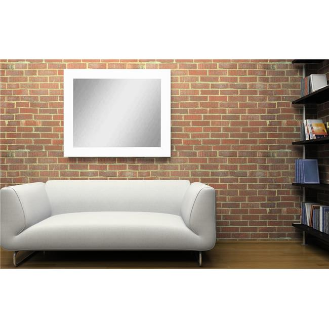 American Made White Over Sofa Decor Framed Vanity Wall Mirror 32 x 38 in.  BM003L-1 - image 1 of 1