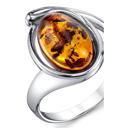 Amber Sterling Silver Brooch (Sterling Silver Baltic Amber Ring with Cognac Color Oval Shape Center 5 - 9)