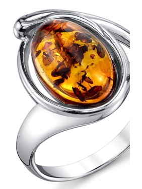 Sterling Silver Baltic Amber Ring with Cognac Color Oval Shape Center 5 - 9
