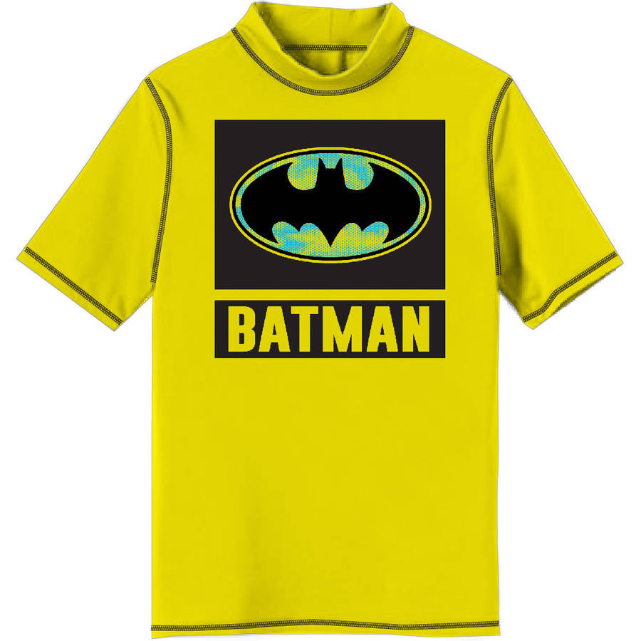 Batman Boys' Short Sleeve Polyester Rashguard by