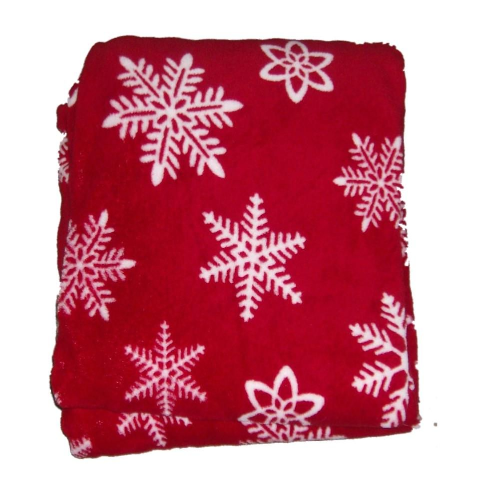 Everyday Living Red & White Snowflake Super Soft Microplush Fleece Throw Blanket