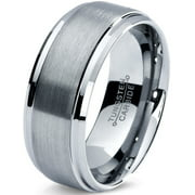 Tungsten Wedding Band Ring 8mm for Men Women Comfort Fit Step Beveled Edge Brushed Lifetime Guarantee