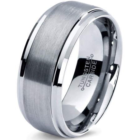Charming Jewelers Tungsten Wedding Band Ring 8mm for Men Women Comfort Fit Step Beveled Edge Brushed Lifetime Guarantee (Men S Wedding Rings)