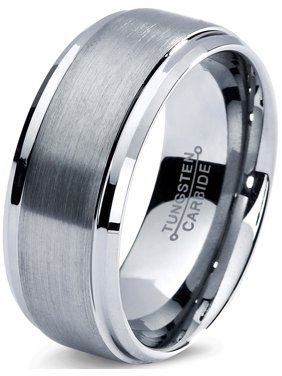 Charming Jewelers Tungsten Wedding Band Ring 8mm for Men Women Comfort Fit Step Beveled Edge Brushed Lifetime Guarantee