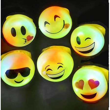24 LED LIGHT UP FLASHING EMOJI RINGS EMOTICON JELLY RING PARTY FAVORS CARNIVAL, LOT OF 24 LIGHT UP BRIGHT FLASHING EMOJI RINGS](Light Up Jelly Rings)