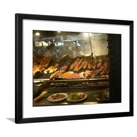 Charcoal Grill in Restaurant El Palenque, Mercado Del Puerto, Montevideo, Uruguay Framed Print Wall Art By Per Karlsson