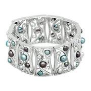 Honora Blue Freshwater Pearl Paneled Swirl Link Bracelet in Sterling Silver
