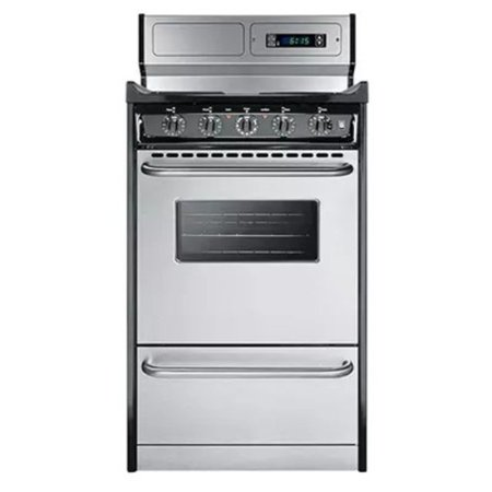 Summit TEM130BKWY 20in Freestanding Electric Range with Electronic Ignition, Clock with Timer Clean Freestanding Electric Coil Range