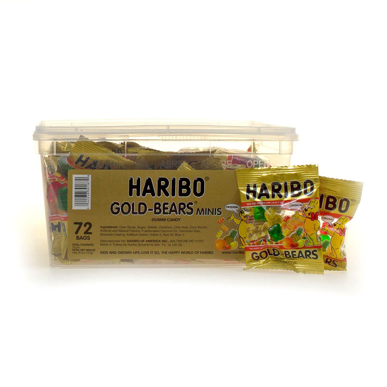 Haribo Gold-Bears 0.5 oz. bags (72 ct.), Excellent for children's lunch box for dessert. Flavors: pineapple (white), strawberry (green), lemon (yellow), orange (orange), and raspberry (red).
