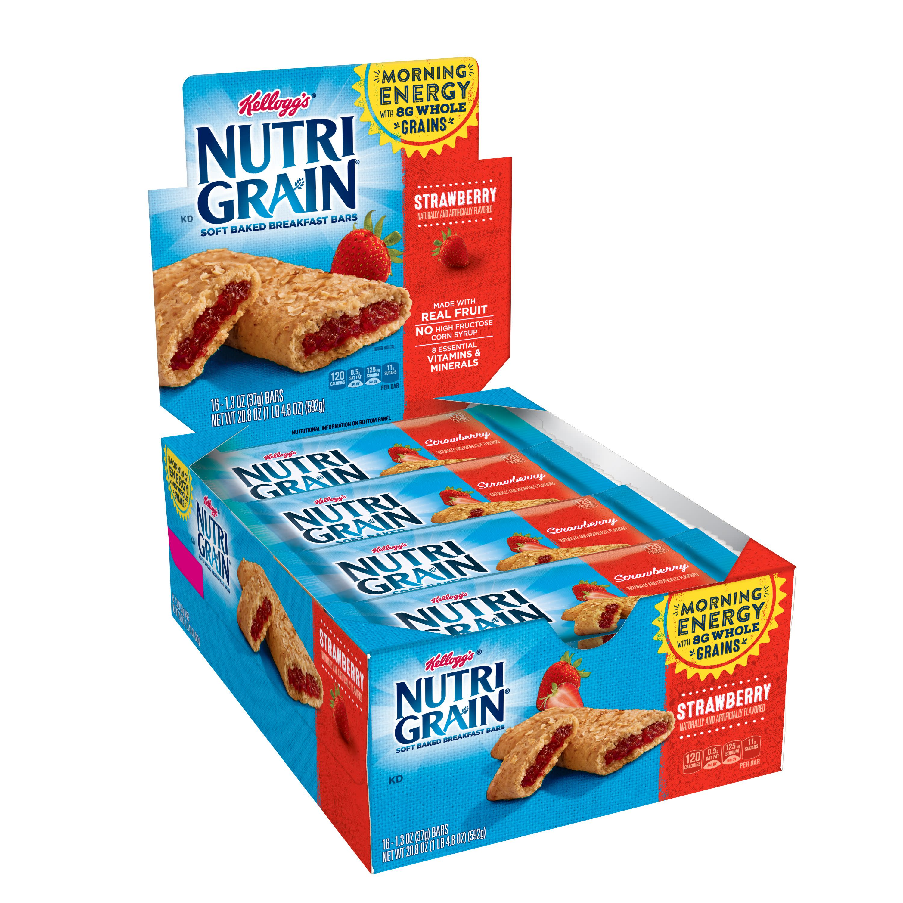 Kellogg's Nutri-Grain Strawberry Cereal Bars, 1.3 Oz., 16 Count