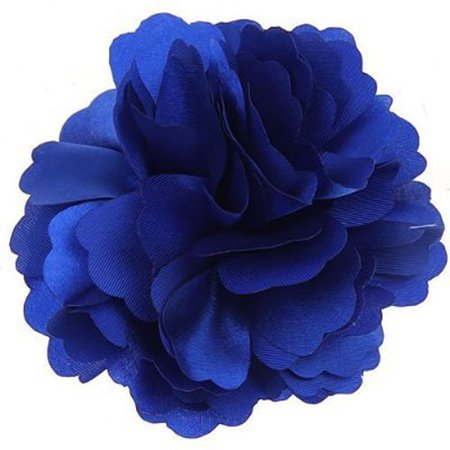 Womens Pennies - 2-in-1 Beautiful Satin Peony Flower Style Women Girls Hair Clip Hairpin Brooch (Royal Blue)