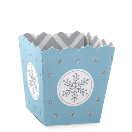 Winter Wonderland - Party Mini Favor Boxes - Snowflake Holiday Party Treat Candy Boxes - Set of 12
