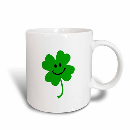 3dRose Happy Shamrock - Cute smiley face lucky four leaf clover - Irish good luck charm - Green Ireland, Ceramic Mug, - Lucky Shamrock