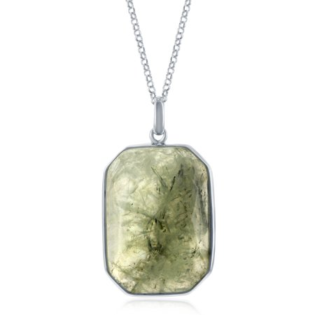 "Sterling Silver 18+2"" Large Faceted Natural Prehnite Stone Hexagon Shape Design Pendant Necklace"
