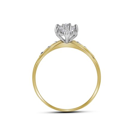 10kt Yellow Gold Womens Round Diamond Marquise-shape Cluster Ring 1/10 Cttw - image 2 de 2