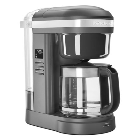 KitchenAid 12 Cup Drip Coffee Maker with Spiral Showerhead, Matte Charcoal Grey (White Handle Coffee Pot)