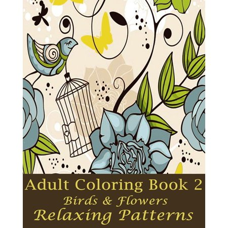 Adult Coloring Book 2 Birds Flowers Design Paperback