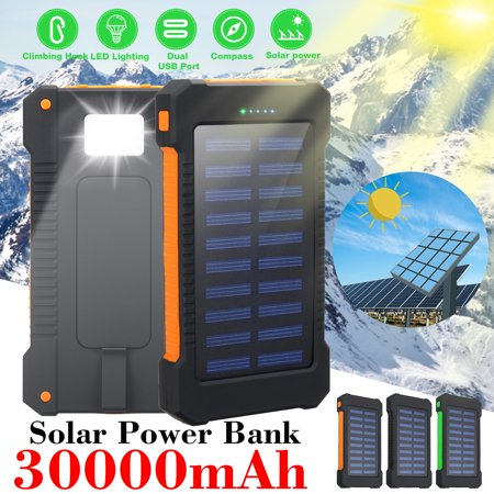 30000mAh Solar Power Bank Waterproof Dual USB LED External Battery Pack 3 Colors iPhone Phone Pad Mobile Cell for Emergency Outdoor Camping Travel+Carabiner +Compass - Iphone Solar Battery