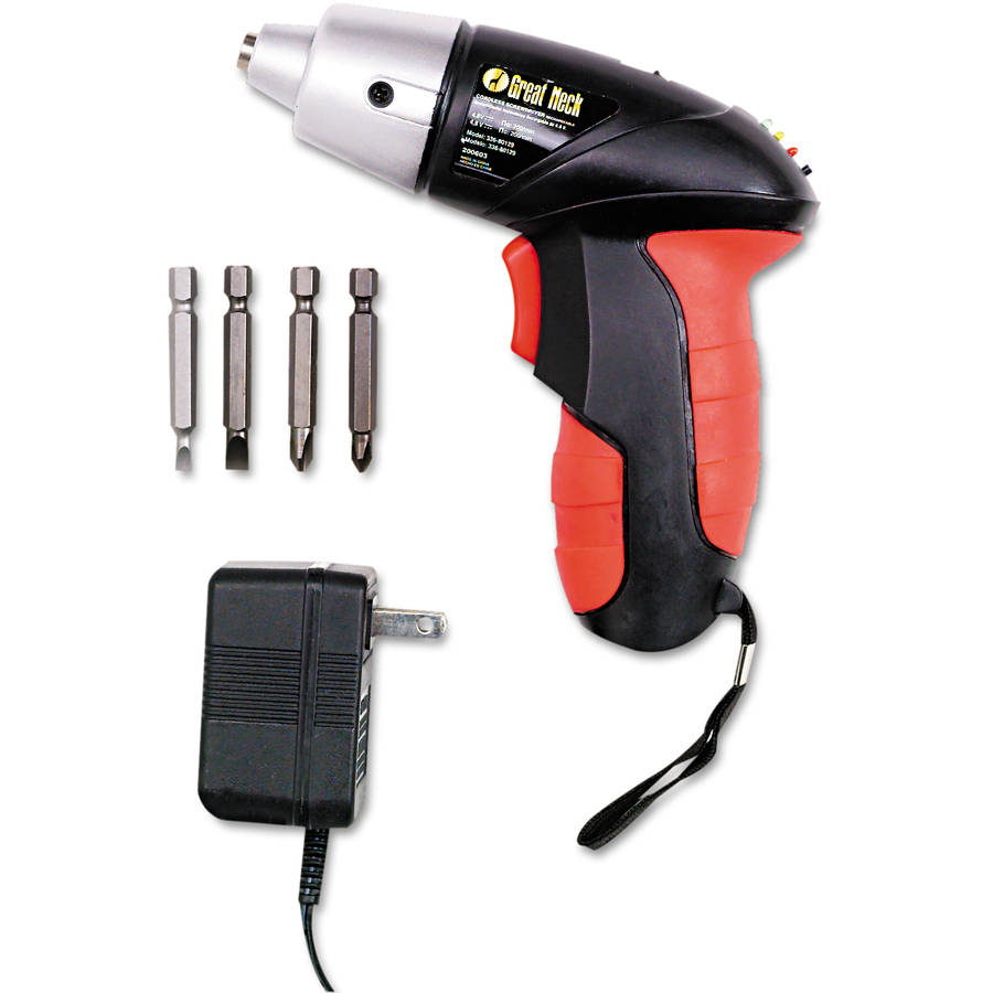 Great Neck 4.8V Cordless Screwdriver, 4 Bits, 200RPM
