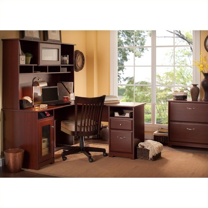 "Bush Cabot 60"" L-Shaped Computer Desk Set in Harvest Cherry"