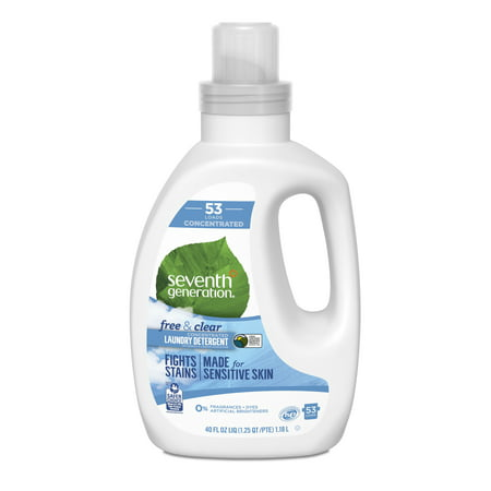 Seventh Generation Free & Clear Concentrated Liquid Laundry Detergent Fragrance Free, 53 Loads 40 oz 32 Ounce Laundry Detergent