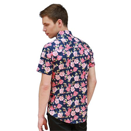 bd1cc868 Men Summer Short Sleeves Button Down Floral Print Hawaiian Shirt Black Red  L - image 1 ...