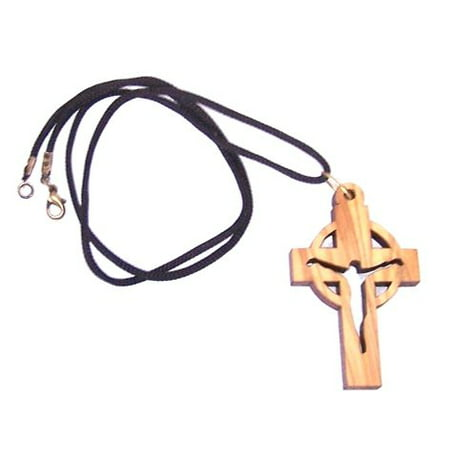 Large Modern Crucifix celtic Style - olive wood necklace (necklace is 60cm long - 23.5 inches and Cross is 6cm or 2.4 in