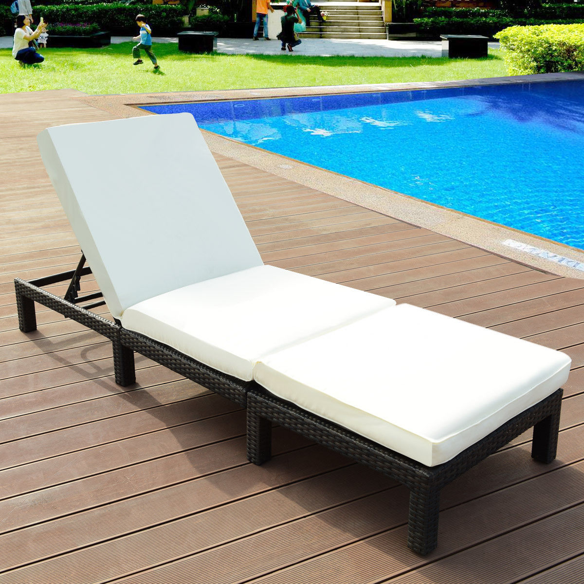 Costway Patio Adjustable Wicker Chaise Lounge Poolside Couch Furniture with Cushion