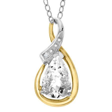Duet 1 1/2 ct White Topaz Pendant Necklace with Diamonds in Sterling Silver & 10kt Gold