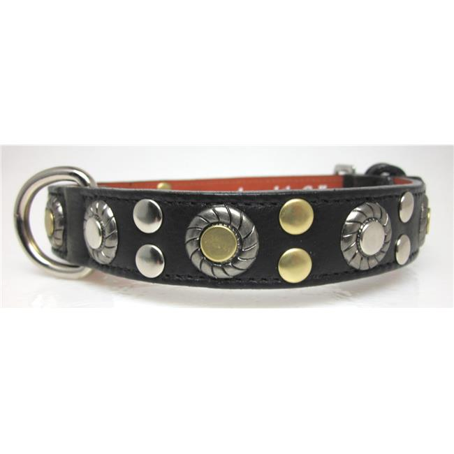 Around the Collar 1004C34BLK22 Genuine Leather Collar with Nickel & Brass Studs & Jacket Ornament 22 inch x 1 inch