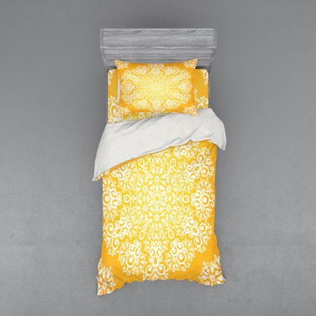 Yellow Duvet Cover Set, Snowflake Like Floral Pattern Design with Tribal Inspired Artwork, Bedding Set with Shams and Fitted Sheet, 3 Sizes, by Ambesonne