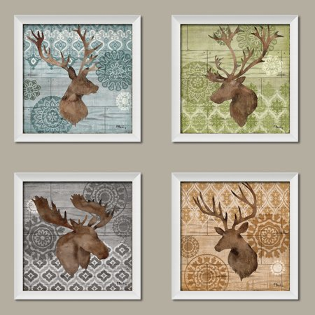 Colorful Elk Deer Moose Silhouettes on a Colorful Ikat Background; Lodge Cabin Decor, Four 12 by 12-Inch White Framed Prints Ready to hang!