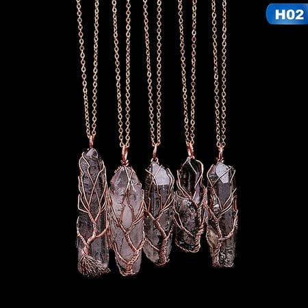 AkoaDa 7 Chakra Natural Stone Gemstone Crystal Tree Of Life Hexagon Rainbow Stone Energy Healing Handmade Pendant Necklace (1Pc Color Random) Energy Saving Outdoor Pendant