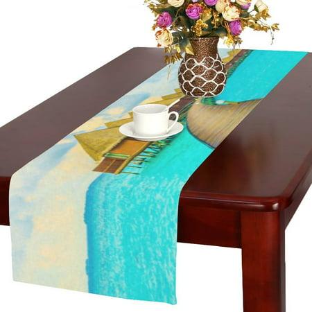 MYPOP Beach And Sea Wood Bridge Cotton Linen Table Runner 16x72 Inches ()